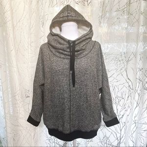 BCBGMaxAzria speckled Gray & black hoodie sweater